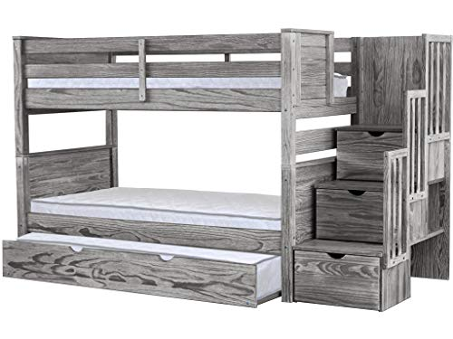 Bedz King Stairway Bunk Beds Twin over Twin with 3 Drawers in the Steps and a Twin Trundle, Rustic - Pine Headboard Painted