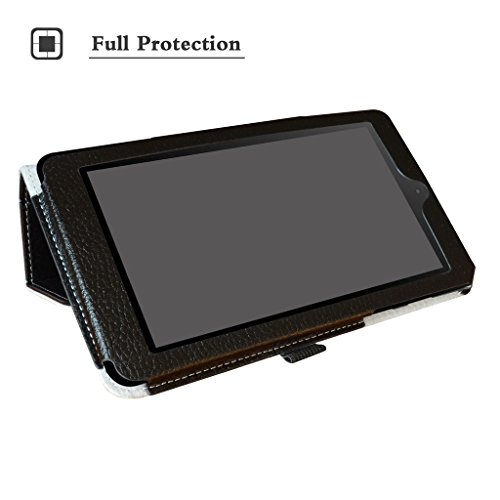 """Nook Tablet 7 2016 Case,Mama Mouth PU Leather Folio 2-Folding Stand Cover for 7"""" Barnes & Noble Nook 7 BNTV450 Andriod Tablet 2016,Black"""