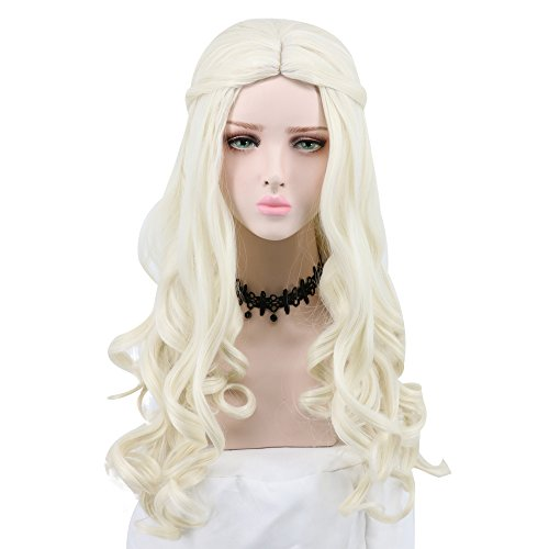 (Yuehong Women Girl's Long White Curly Wig Movie Cosplay Wigs Party Hair)