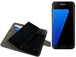 TOP SET: Funda para el Samsung Galaxy S7 edge + auriculares, Walletcase hecho de cuero sintético en negro, monocromático y simple. Bolsillo para el teléfono móvil con ranuras para tarjetas de crédito y la función del soporte. BookStyle bisagras de la manga para los teléfonos inteligentes. A prueba de golpes del caso, la piel suave cubierta del teléfono móvil funda protectora. Protección integral robusta premium Case Flipstyle   envío de Alemania en un día laborable