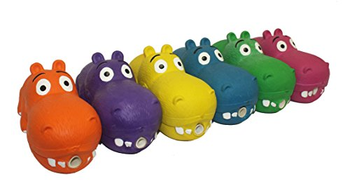Multipet HIPPOPOTAMUS Latex Hippo that Grunts 8 inch dog toy. Ships in one of three assorted colors.