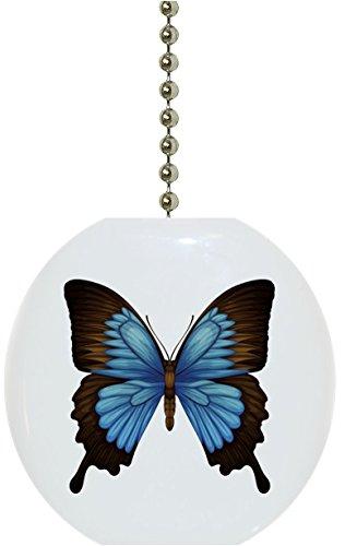 Pull Butterfly Fan Ceiling (Carolina Hardware and Decor 1987F Blue Mountain Swallowtail Butterflies Solid Ceramic Fan Pull)