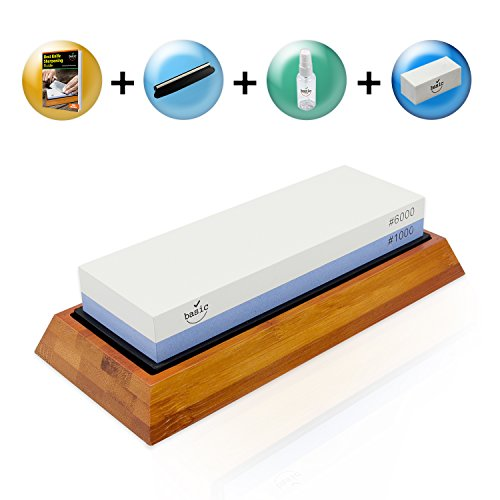 WarriorStone Japanese Whetstone Knife Sharpening Kit - Huge #1 Value Bundle - Best Professional Knife Sharpener w/ Non-Slip Silicone Lined Bamboo Base, Angle Guide, Flattening Stone, Video Training (Whetstone Kit Sharpening)