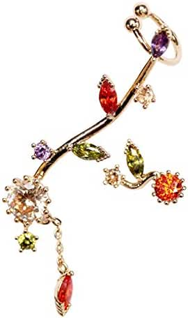 EVERU 1 Pair Asymmetric Multicolor CZ Rhinestone Ear Cuff Earrings Gold-plated-base