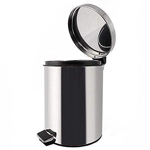 Juvale Stainless Steel Trash Can - Step Trash and Recycling Bin For Kitchen, Bathroom, and Office - 11""