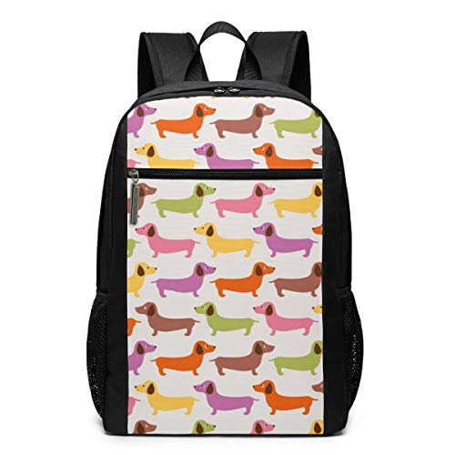 Cartoon Dachshund Dog Daypack With Adjustable Shoulder Straps, Camping Outdoor Backpack Big Capacity School Daypack Backpack Anti-Theft Multipurpose for Boys Girls