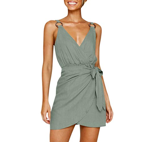 AgrinTol Women's V-Neck Bow Sling Dress Jumpsuit Sleeveless Casual One-Piece Dress Jumpsuit (L, Army -