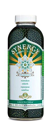 GT'S ENLIGHTENED KOMBUCHA Synergy Organic Kombucha Tea, Green Chia, 16.2 Ounce (Pack of 12) (With Synergy Chia Drink)