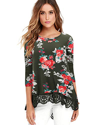 FISOUL Tops Long Sleeve Lace Trim O-Neck A-Line Floral Printed Tunic Tops S AG