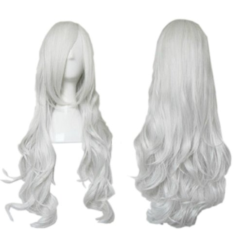 dolly2u Noble Angel Silver White Beautiful Long Curl Wavy Cosplay Wigs Full Hair Wigs (Flapper Makeup Kit)