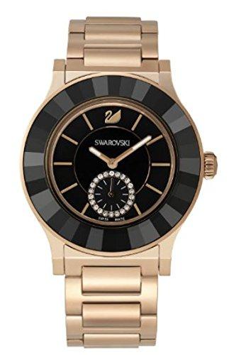 Swarovski 18k Bracelet (Swarovski Octea Classica Black Rose Gold Tone Bracelet Ladies Watch 5043192)