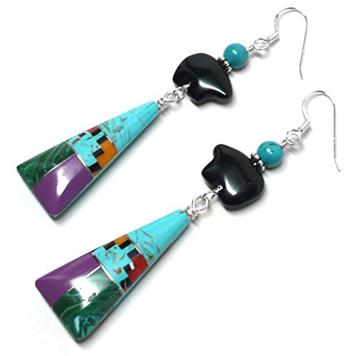 mstone Inlay Ceremonial Triangle Black Agate Bear Earrings (Triangle Turquoise Inlay)