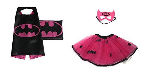 Rush Dance Kids Children's Deluxe Comics Super Hero CAPE & MASK & TUTU Costume (Batgirl (Batgirl (Spider Girl Costume For Kids)