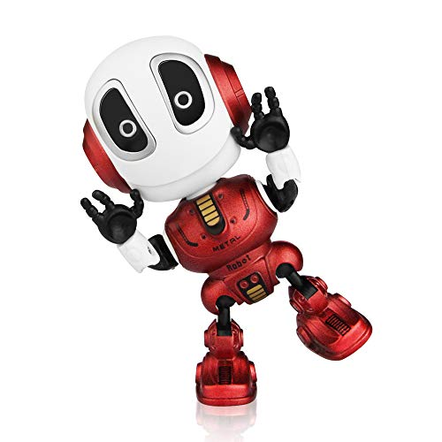 Betheaces Robots for Kids Talking Robot Interactive Toy Repeats Your Voice Travel Toys with Posable Metal Body and Flashing Lights Robot Gifts for Boys and Girls(Fire Red)