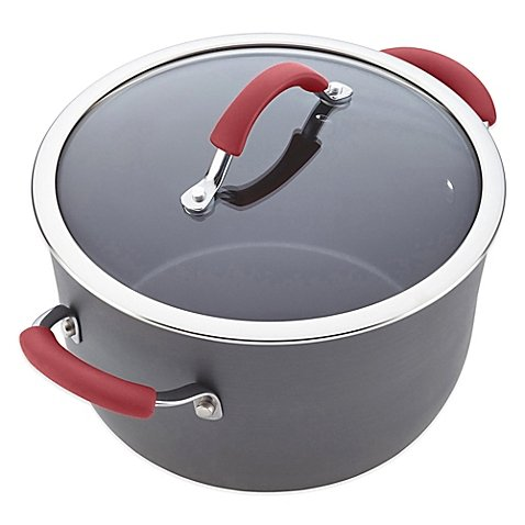 Rachael Ray Cucina 10 qt. Covered Stock Pot in Grey/Cranberr