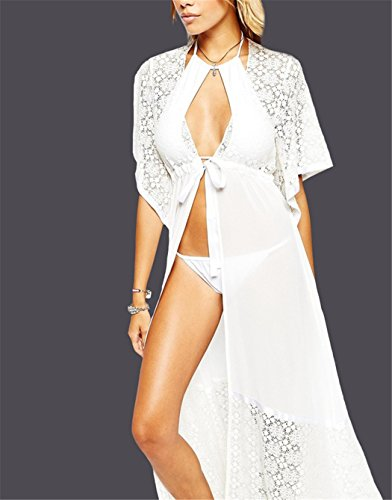 Long Lace Beach Sunscreen Bikini Cover up Kimono Cardigan Maxi ...