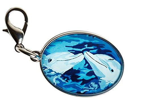 Dolphin Zipper Pull Charm, Bag Charm - Animal -(Dolphins - The Kiss)