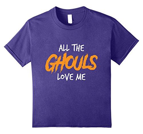 Cute Halloween Gifts For Girlfriend (Kids Spooky Funny Halloween Gift Tees | Ghouls Love Me 8 Purple)