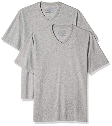 Amazon Essentials Men's 2-Pack Loose-fit V-Neck T-Shirt, Heather Grey, X-Large
