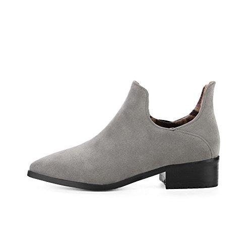 Odomolor Women's Pu Pointed-Toe Kitten-Heels Soild Pumps-Shoes Gray 1UfMjGf