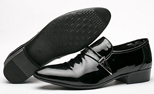 IDIFU Mens Trendy Low Chunky Heels Low Top Slip On Pointed Toe Oxfords Shoes Black 65YxmOB