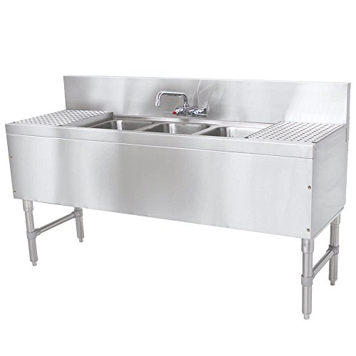 30 In Drainboard (Advance Tabco PRB-19-83C 3 Compartment Prestige Series Underbar Sink with (2) 30