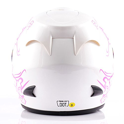 WOW Motorcycle Full Face Helmet Street Bike Women Lady Pink Flower White