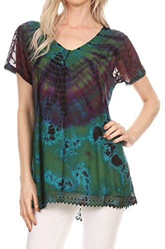 Sakkas 17787 - Josea Relaxed Fit Tie Dye Embroidered Crepe Cap Sleeve Blouse | Cover Up - Green - OS