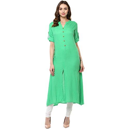 Appealing Saree - Ridan Women Casual Rayon 3/4 Sleeve Front Slit Fit Kurti/Kurta Tunic Top – Green