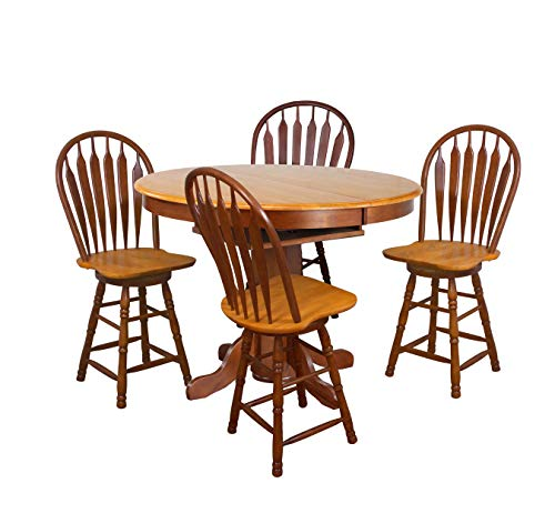 (Sunset Trading DLU-TBX4266CB-B24-NLO5PC Oak Selections Pub Table Set, Medium Walnut with Light Finish top and Seats)