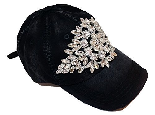 Olive & Pique Women's Large AB Crystal Flower Distressed Baseball Cap (Dark Grey)