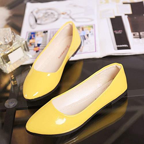 Kongqiabona Tacones Mujer Zapatos cómodos Zapatos PU Candy de de toed Punta Femeninos Pulida Colors Planas Zapatos rvnrqgIpH