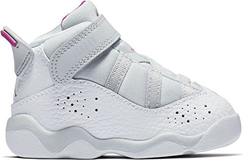 NIKE Jordan Toddler 6 Rings GT Baby-Girls Fashion-Sneakers 942780-011 Pure Platinum/Fuchsia Blast-White (10C)