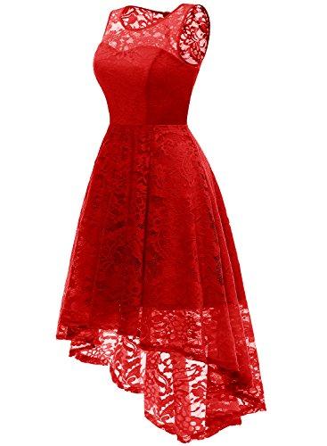 rosso Una Muadress Hi cocktail Dress pizzo in fiori abiti di da da eleganti Vintage donne Lo di promenade linea xWqfnxABay