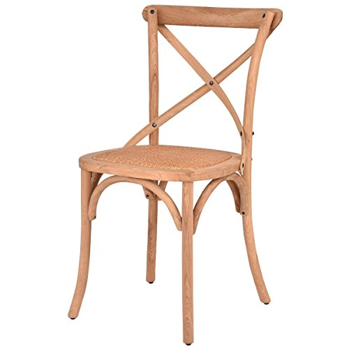 AK Energy Home Office Cross Back Canteen Cafeteria Dining Side Chair Oak Rattan Seat Comfortable Natural Color