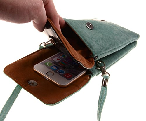 KISS GOLD (TM) Cute Little Cat Print Mobile Phone Cellphone Pouch Mini Shoulder Bag (Black)