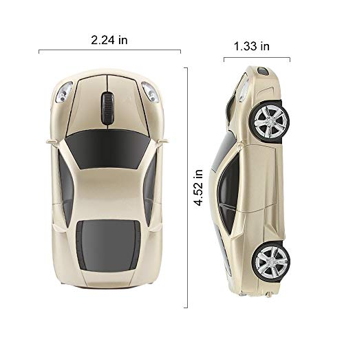 Kamouse Car Shape Wireless Mouse Ergonomic Optical Mice USB 2.4G Mini Receiver for Pc Laptop Notebook Windows 10