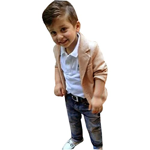 Nevera 3Pcs Kids Baby Boy Gentleman Coat+Shirt+Jeans Pants Clothes Outfits Set Yellow