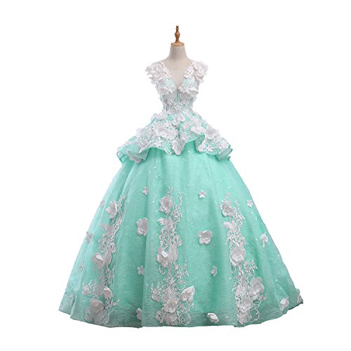 MonaBridal Women's Handmade Flower A Line Wedding Dress Lace Quinceanera Ball Gown Tiffany Blue 6