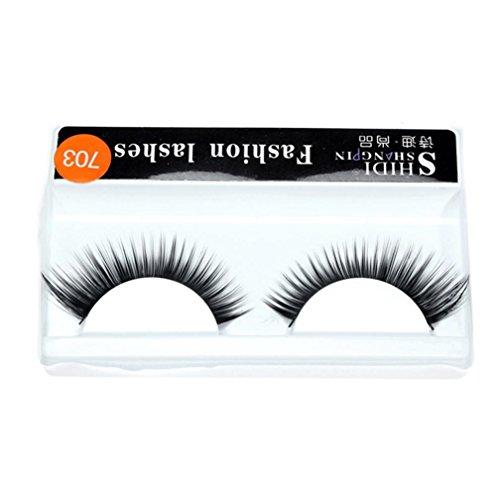 Makalon 1 Pairs Long Makeup Cross Thick False 3D Dense Eyelashes Eye Lashes Nautral (Black Karma Apparel)