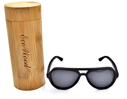 Steel Polarized Gray Mirror - Wood Aviators Sunglasses Black Bamboo Polarized Lens Handmade with Bamboo Case by EcoWood (Black Bamboo, Dark Gray)
