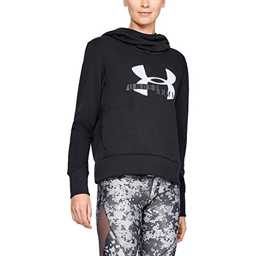 Under Armour Women's Cotton Fleece sportstyle logo hoodie, Black, Medium (Black Logo Hoodie Big)