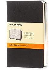 Moleskine Cahier Journal Notitieboek, 3-Delig, Gelinieerd, Zachte Kaft, 9 x 14 cm, Zwart