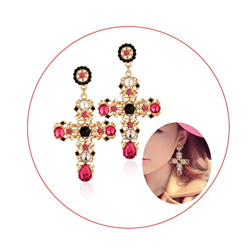 Palace Hollow Carving Pattern Color Crystal Big Cross Baroque Dangle Earrings for Women Girls Party Gifts (Red)