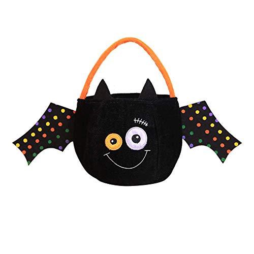 Xeminor Premium Quality 1 x Halloween Candy Bag Kindergarten Halloween Decoration Children Gift Creative Sugar Bag Three-Dimensional Pumpkin Tote Bag Decoration Black Bat Wing -