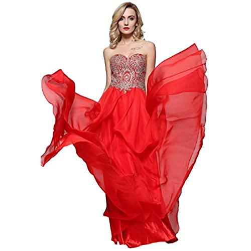 Meier Womens Embroidery Rhinestone Long Formal Evening Prom Dresses (12, Red Strapless)