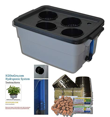 Complete Hydroponic System DWC Grow kit #3-4 by H2OtoGro (Best Nutrients For Dwc System)