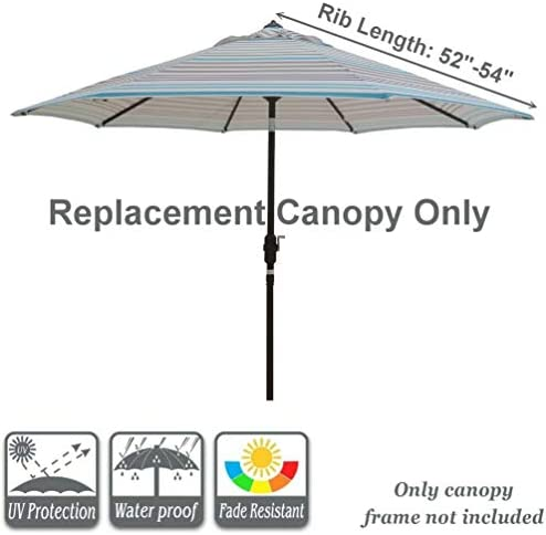 Bayside21 Replacement Umbrella Canopy for 8 Ribs 9 ft Outdoor Patio Umbrella Vented Replacement Umbrella Canopy 9ft Market Umbrella Replacement Canopy 8 Ribs Non Faded Blue Grey Stripe