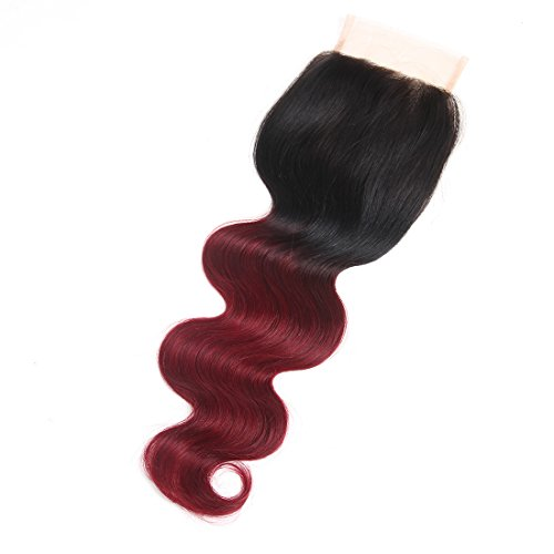 Rh Stock (Racily Hair Ombre Brazilian Hair Body Wave Lace Closure 1B 99J Brazilian Hair Closure 100% Unprocessed Virgin Brazilian Human Hair Free Middle Three Part In Stock (1 Piece Closure 14