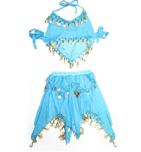[BellyLady Kid's Blue Belly Dance Halter Top & Skirt, Christmas Gift Idea] (Ideas For Halloween Costumes For Teenage Girl)